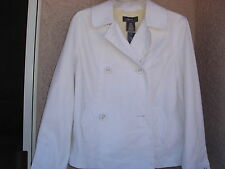 """AUTHENTIC """" GEORGE """" LADIES ARTIC WHITE  SIZE MED. DOUBLE BREASTED JACKET"""