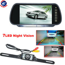 "New 7"" LCD Monitor/Mirror Car Wire Backup Rear View Camera Parking Reverse Kit"