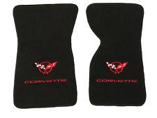 C3 Corvette Floor Mats Black Plush Carpet W/Double Logo in Red Fits 1968-1982