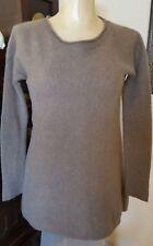 PREMISE CASHMERE 100% Cashmere Taupe Brown Hi-Lo Longer Tunic Sweater - sz S