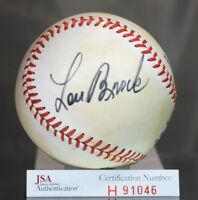 LOU BROCK SIGNED JSA AUTHENTIC FEENEY NATIONAL LEAGUE BASEBALL AUTOGRAPH