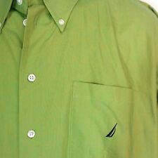 Nautica Shirt 17 1/2 32 33 Long Sleeve Bright Green Button Down Collar