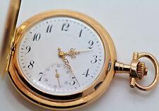 Rare Antique GLASHUTTE 14k Solid Gold Hunter Case Pocket Watch