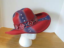 Rare  L Large Hat Monte Carlo Patriotic Stars Bull Hide Red White Blue