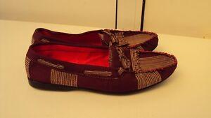 Nigerian Aso Oke Fabric Handmade Men's Shoes Burgundy - UK 9 / EU 43