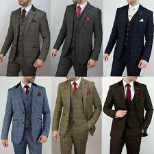 Mens Tweed Check Herringbone Peaky Blinders Vintage Tailored Fit 3 Piece Suit