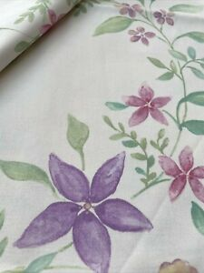 Crowson 'Sofia' Fabric Remnant Lilac Pink & Green Florals on Ivory 144cm x 116cm