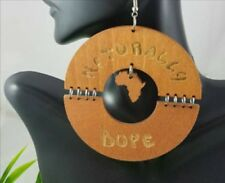 """Naturally Dope"" Carved Wood Hoop Cutout Earrings Ethnic African Urban Jewerly"