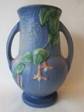 """8 1/2"""" FLOWER VASE! Vintage ROSEVILLE ART pottery matte BLUE FUSCHIA pattern EXC"""