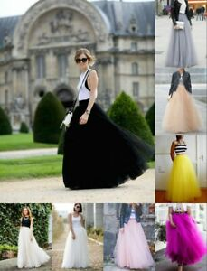 5 Layer Tulle Long Skirt Tutu Women Maxi Wedding Skirts Party Prom Underskirt K1