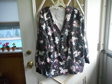 LONG SLEEVE BUTTON DOWN FRONT BLACK W ASSORTED LITE COLORED BUTTERFLYS SCRUB