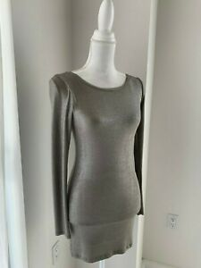 Alice + Olivia Taupe Lurex Shimmer Knit Long Sleeve Bodycon Sheath Mini Dress XS