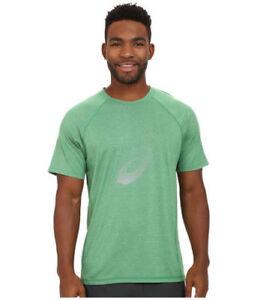 ASICS Soukai Graphique Hommes Ras Cou Polyester Stretch Chemise Petit Vert Neuf