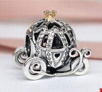 Authentic Pandora 14K Gold Cinderella's Pumpkin Coach Disney Charm Bead 791573CZ
