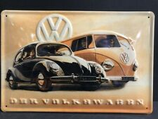 VW CLASSIC BEETLE CAMPER VAN BUS EMBOSSED METAL ADVERTISING GARAGE SIGN 30x20cm