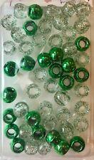 Metallic Green/Clear w/ Green Glitter medium hair beads -braids, twists, locs