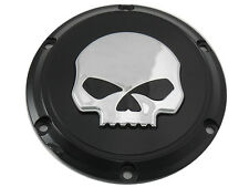 Black 6 hole skull derby cover with chrome skull Fits-Harley XL Models 2004-Up