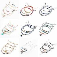 3Pcs/set Boho Women Shell Beads Natural Stone Tassel Crystal Bracelets Wrap Gift