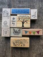 10 Rubber stamps wood mounted Tree Pueblo Goose Stamp square Crafting Scrapbook