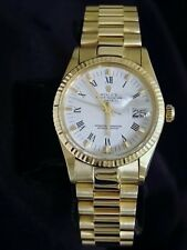 Rolex Date 15037 Men Solid 14K Yellow Gold Watch President Style Band Roman Dial