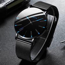 Cinturón de malla de reloj de hombre de negocios Minimalista Relojes ultra delgada de acero inoxidable NUEVO