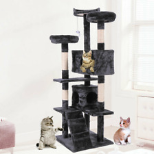 """60"""" Cat Tree Tower Condo Furniture Scratching Post Pet Kitty Play House Black"""