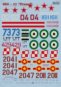 Print Scale 48-013 Decal for Mig 17 Fresco. Part 1 - 1/48 scale