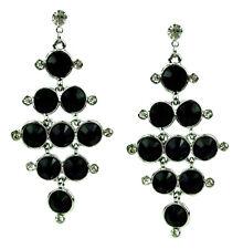 Ella Jonte Ohrringe schwarz silber lange Ohrstecker Strass Trend earrings black