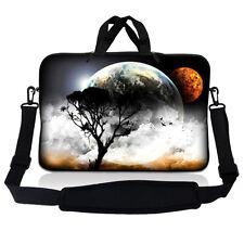 "13.3"" 13 Laptop Sleeve Bag w Shoulder Strap Chromebook Macbook Earth Moon Eclips"