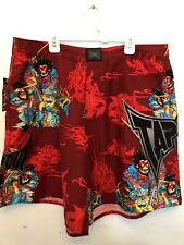 MENS Size 34 Tapout UFC Pattern Shorts Adj String Waist NEW WITH TAGS, NWT