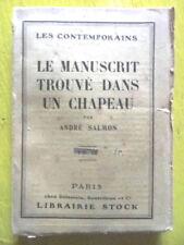 André Salmon Le Manuscrit Trouvé dans un Chapeau Editions Stock 1924