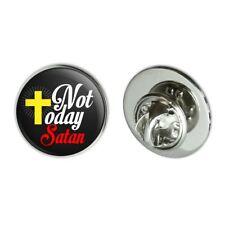 "0.75"" Lapel Pin Tie Tack Not Today Satan Cross Christian Religious"