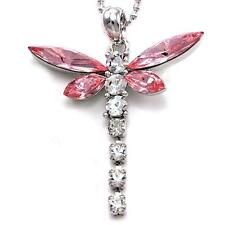 Dragonfly Clear Pink Wing Crystal Rhinestone Necklace Chain Charm Pendant n338