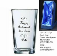 Personalised Retirement/ Leaving Gift, Pint Glass, Comes in Satin Lined Gift Box