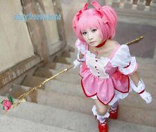 Puella Magi Madoka Magica Kaname Madoka Pink Cosplay Wig + Free Wig Cap