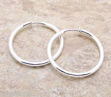 "Large Silver SP HOOP CLIP Earrings 2"" 3mm Clipon Shiny Classic Style Trendy New"