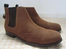 NEXT Brogues Men's Brown Tan Suede Leather Chelsea Ankle Boots Size UK 8 EU 42