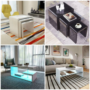 Coffee Table Modern Living Room High Gloss With Layer Furniture Nest of 3 Set UK