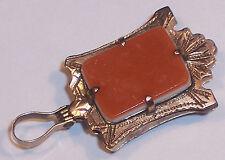 Fob Pendant Necklace Charm Photo Locket Antique Hardstone Agate 14K Solid Gold