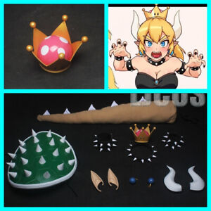 Super Princess Bowsette Womanize Cosplay Crown Earrings Horns Headwear Tail Prop