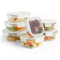 VonShef 14pc Glass Food Storage Containers Airtight Tupperware Clip Top Vent Lid