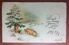 Antique New Year postcard 1920s Nude baby boy cherub on snow Pig clover gift