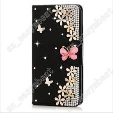 Elegant Rose Flower Bling Crystal Rhinestone Wallet Leather Case For Cell Phone