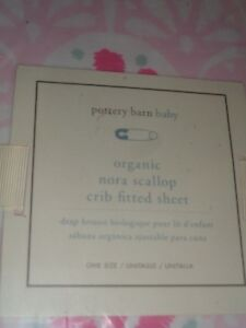 Pottery Barn Kids Nora Scallop fitted Crib fitted sheet pink New