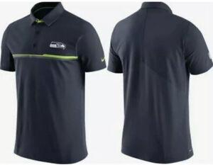NWT Nike Seattle Seahawks Mens Sideline Elite Coaches Polo Shirt Large Navy