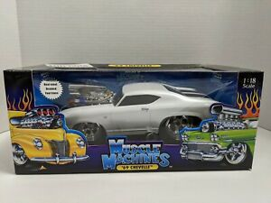 1969 Chevy Chevelle SS Pearl White w/ Black Stripes Muscle Machines Too Cool