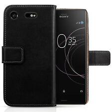 Sony Xperia XZ1 Caso Reale Vera Pelle Folio Flip Portafoglio Copertura Di Protezione