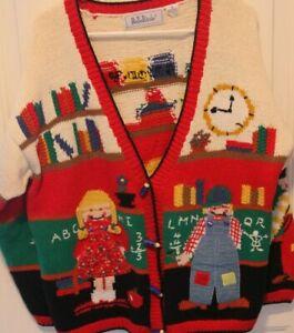 XL Sweater Vintage Belle Pointe School Teacher Pencils for buttons, pigtails