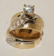 10k Yellow Gold Wedding Bands & Engagement ring Man's & ladies Trio Set His/Hers