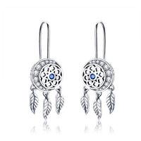 S925 Multicolor Dream Catcher Pendant Necklace Hook Dangle Earrings Jewelry Set